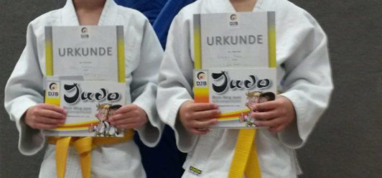 Fabian und Levi bestehen Gelbgurtprüfung